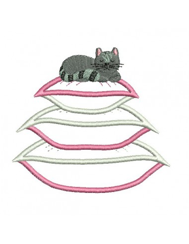 Instant download machine embroidery applique cat