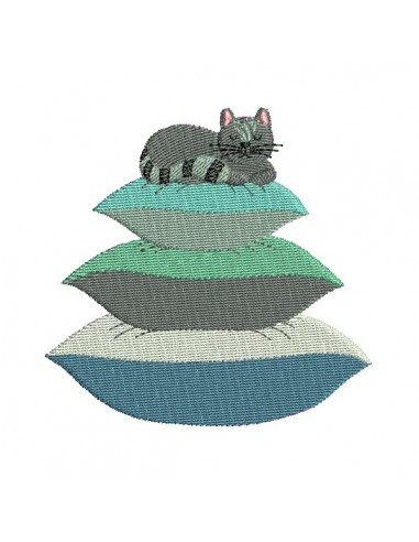 Instant download machine embroidery applique cat on throw pillows