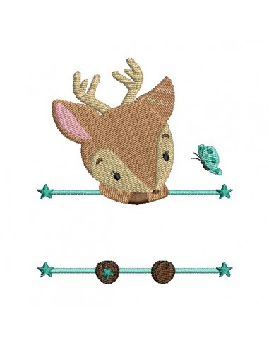 Instant download machine embroidery deer to customize for girl