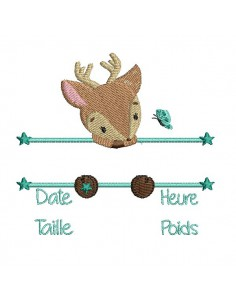 instant download machine embroidery design customizable birth journal boy  panda