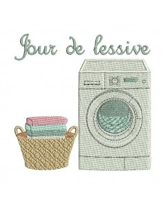 Instant download machine embroidery design vintage laundry