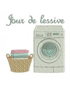 Motif de broderie machine jour de  lessive