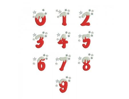 Motif de broderie machine chiffres de  Noël