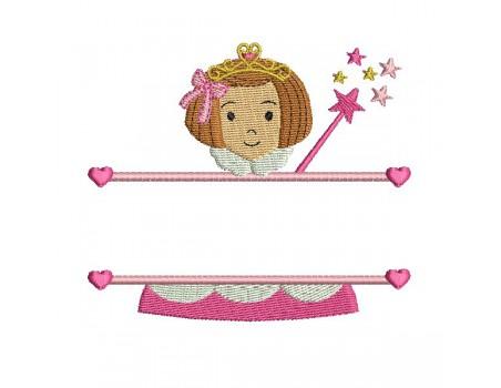 Motif de broderie machine motif prénom petite fille princesse