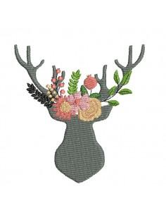 Motif de broderie machine  tête de cerf fleurs