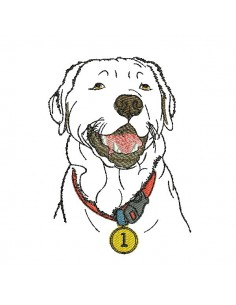 Instant download machine embroidery  labrador with glasses