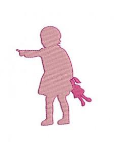 Motif de broderie fillette et sa poupée