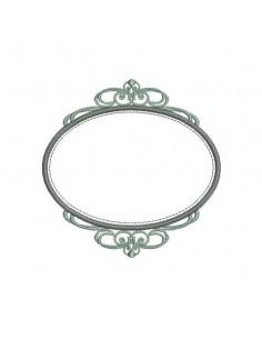 Motif de broderie machine cadre arabesque ovale