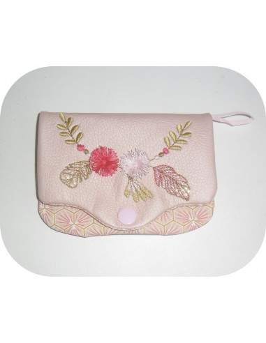 Instant download machine embroidery design ITH mask pouch bohème