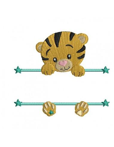 Motif de broderie machine  tigre prénom