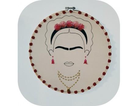 Motif de broderie machine femme mexicaine avec ses bijoux franges et pompons en 3D esprit Frida