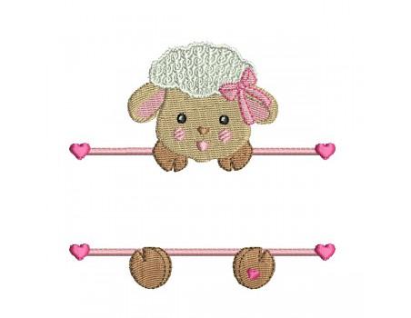 motif de broderie machine mouton prénom fille