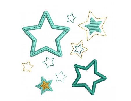 Motif broderie machine patchwork d'étoiles