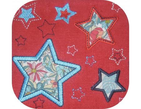 Motif de broderie machine  étoiles patchwork