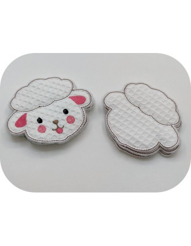 machine embroidery design ith sheep cotton wipes