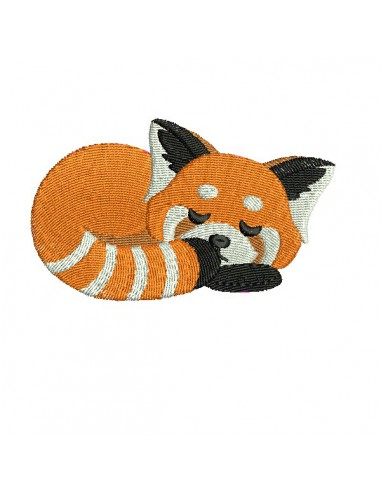 machine embroidery design sleeping red panda