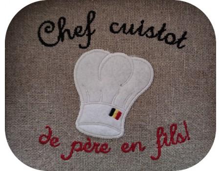 machine embroidery design applique chef's hat
