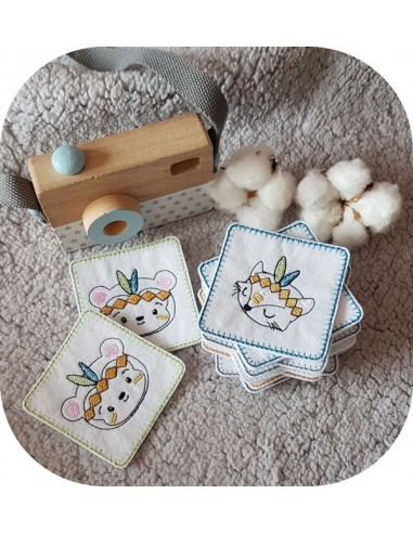 Motif de broderie machine memory  petits animaux indiens ITH