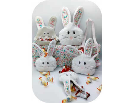 machine embroidery design  easter bunny head candy bag ith