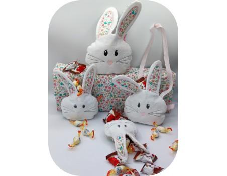 Motif de broderie machine sac à bonbons  lapin  ITH