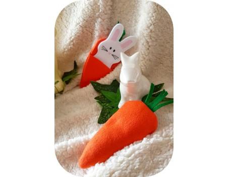 Motif de broderie machine  lapin carotte ITH