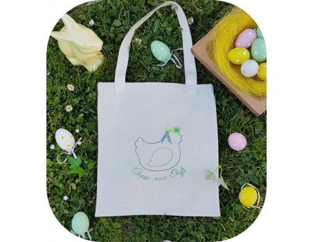 machine embroidery design easter hen 3D