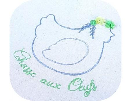 Motif de broderie machine  la poule avec ses  fleurs et pompons en 3D