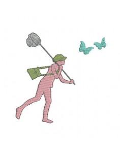 Motif de broderie chasse aux papillons