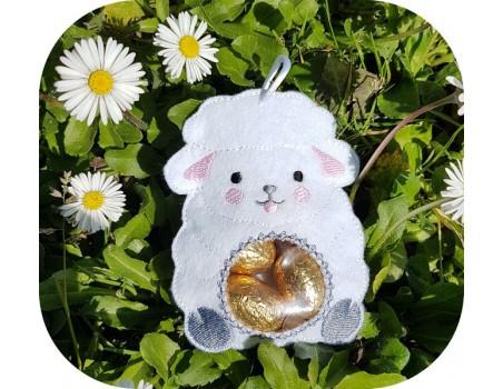 Motif de broderie machine mouton ITH pour bonbons ou chocolats
