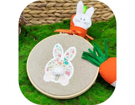 machine embroidery design  little rabbit 3D fringe