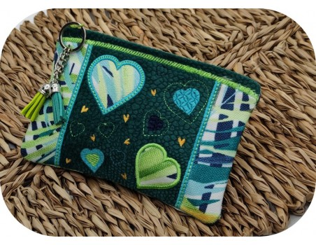 machine embroidery  pencil case patchwork of hearts  ith