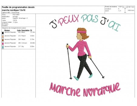 machine  Embroidery design  i can not  Nordic's walk