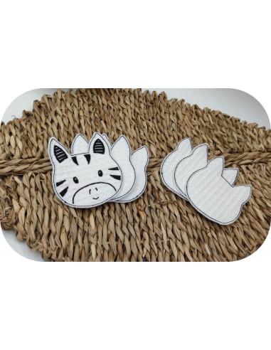 machine embroidery design ith reusable zebra head cotton wipes