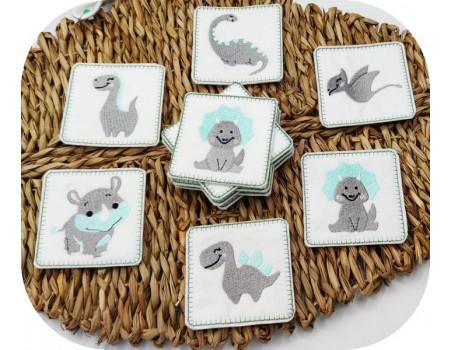 Motif de broderie machine memory  petits dinosaures ITH
