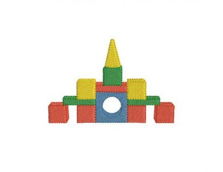 Motif de broderie chateau cube en bois