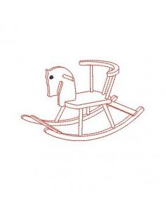 Motif de broderie redwork cheval à bascule bébé