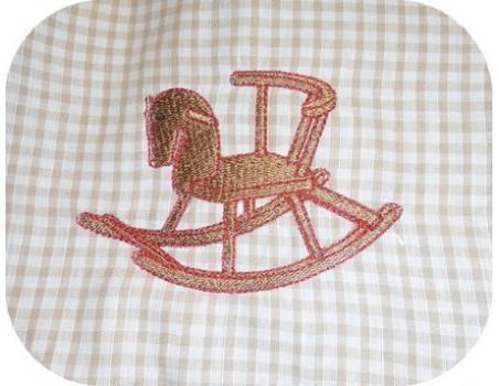 Motif de broderie petit cheval à bascule