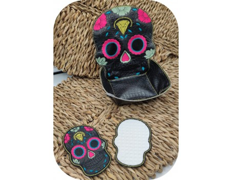machine embroidery design ith skull makeup remover