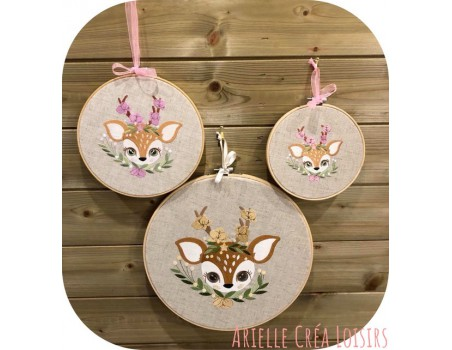 machine embroidery design fawn with flowers
