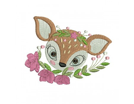 machine embroidery design doe with its flowers