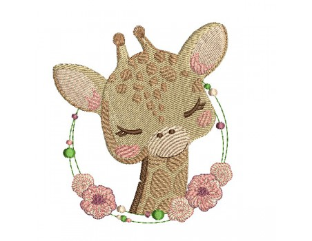 machine embroidery design giraffe with  frame flowers