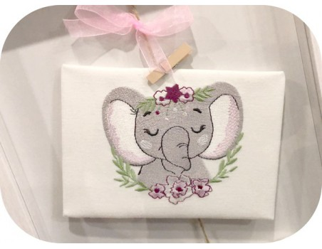 machine embroidery design sleeping elephant with  frame flowers