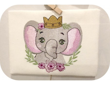 machine embroidery design elephant crown with  frame flowers