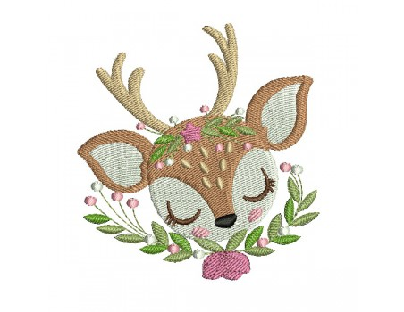 machine embroidery design sleeping fawn with star and  flowers