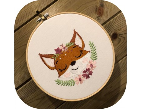 machine embroidery design sleeping fox with star and  flowers