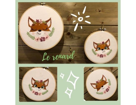 machine embroidery design fox with star and  flowers