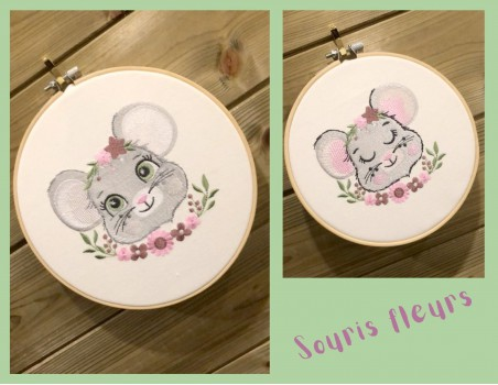 machine embroidery design sleeping mouse with star and  flowers