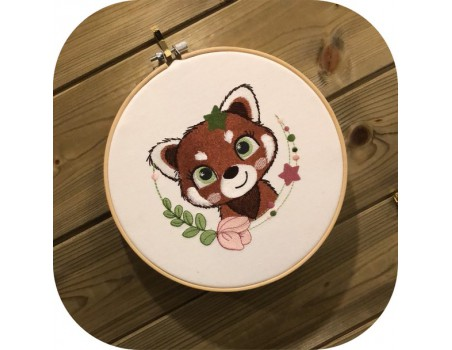 machine embroidery design red panda with star and  flower