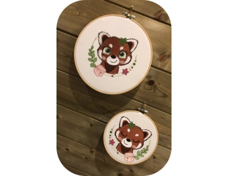 machine embroidery design sleeping red panda with star and  flower