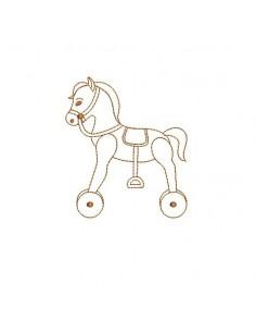 Motif de broderie redwork cheval a roulettes